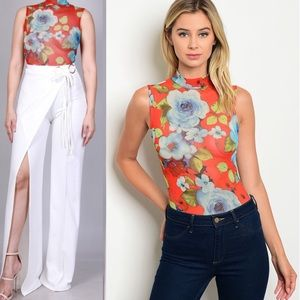 Tops - ORANGE MESH FLORALS BODYSUIT